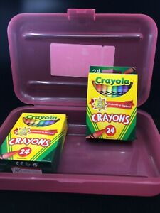 Crayola Crayons 2-24 Packs Assorted Classic Colors in Pink Pencil Box Organizer