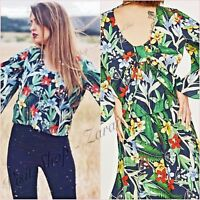 Zara Green Floral Tropical Blouse Long Sleeve Top Size XS UK 6 US 2 Blogger ❤