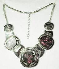 """Large Silver Tone Collar Style Necklace with 3 Dark Brown insets  20"""""""