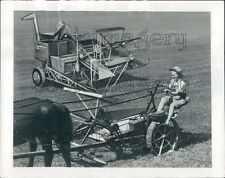 1948 Woman on Vintage Horse Drawn Triumph Reaper Wood Bros Combine Press Photo