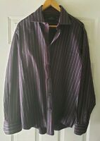 Bugatchi Uomo Mens Long Sleeve Button Purple Striped Shirt Size Large Black L