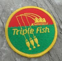 """Triple Fish Fishing Line Embroidered Advertising Angler Patch 3"""" Round"""