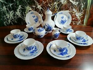 Royal Copenhagen Blue Flower Polished - Noble 21 Piece Coffee Service 6 Pers