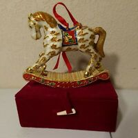 Christmas Ornament 2003 Rocking Horse Gold White Red & Green