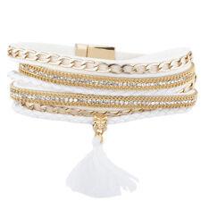 Lux Accessories Gold Tone Chain Rhinestone White Fabric Magnetic Wrap Bracelet