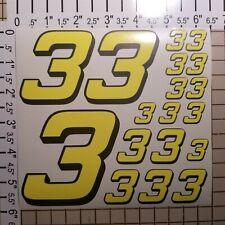 Yellow FLOURESCENT #3's Racing Numbers vinyl Decal Sheet 1/8-1/10-1/12 RC Model