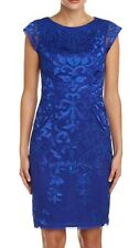 Size 0 *  SUE WONG  Sapphire Blue Embroidered Cocktail Evening Sheath Dress