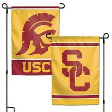 """USC TROJANS 2 SIDED GARDEN FLAG 12""""X18"""" YARD BANNER  OUTDOOR RATED"""