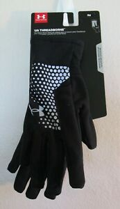 NWT Under Armour Mens UA Threadborne Running Gloves S Black MSRP$35