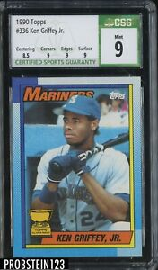 1990 Topps #336 Ken Griffey Jr. Seattle Mariners HOF CSG 9 MINT