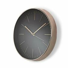 Elegant Modern Wall Clock In Black & Rose Gold Quartz Movement - 30cm Diameter