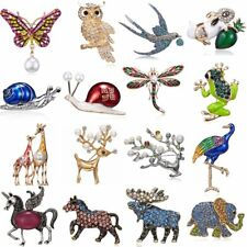 Charm Women Men Jewellery Owl Butterfly Horse Elephant Pearl Crystal Brooch Pin