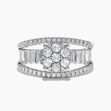 Elegant Silver Rings Women Round Cut White Sapphire Wedding Ring Size 8