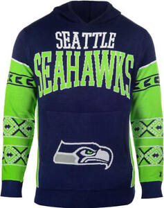 Great New $70 SEATTLE SEAHAWKS Knitted Big Logo Hooded Sweatshirt  Men's X-Large