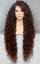"38"" Long Human Hair Blend Lace Front Wig wavy Heat OK Auburn mix WESP T1B-30"