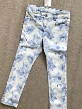 ❤️BNWT❤️Beautiful NEXT Girls Blue Floral Skinny Jeans 5Yrs/110cm