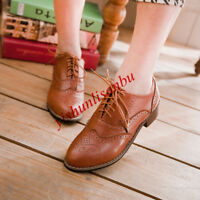 UK SIZE Lady Low Heel Wingtip Lace Up Oxford Retro Brogues Girl Preppy Shoes New