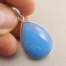 BLUE CHALCEDONY Semi-Precious Gemstone & 925 Sterling Silver Pendant  -  F61