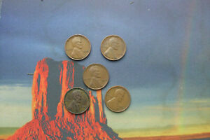 5 1940's USA LINCOLN WHEAT PENNIES (ONE CENTS)