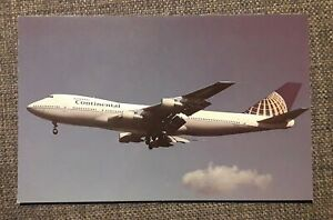 Continental Airlines (USA) Boeing 747 aircraft postcard