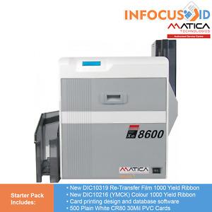 Matica XID8600 Duplex Retransfer ID/Business Card Printer With Starter Pack