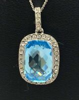 """Sterling Silver 925 CZ Pave Faceted Blue Aquamarine Rectangle Halo Necklace 18"""""""