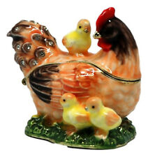 Hen & Chicks Enamelled, Jewelled Trinket Box or figurine