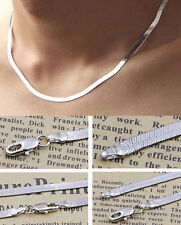 New Wholesale 925 Silver Plated 1PC 4mm 45CM Flat Snake Necklace Chain Women Men