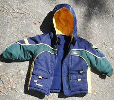 Kid's 18-month BON BEBE Hooded COAT NavyYellowGreen thick warm & clean Ex.Cond.