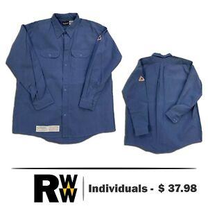 Bulwark Flame Resistant Clothes FR Shirt Nomex IIIA Gulf Blue 2 Pocket Uniform