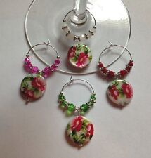 button style flowers set of 4 wine glass charms