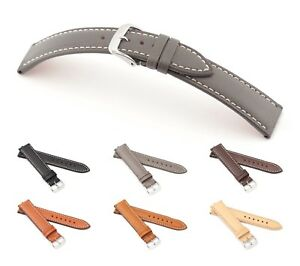 """RIOS1931 Juchten Leather Watch Band """"Pensa"""", 18-20 mm, 6 colors, new!"""
