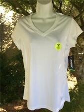 NWT Womens Prince Tennis Shirt Top L White V-Neck Polyester Cap Sleeve