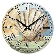 Coastal Seashell Sea Shell LARGE Wall Clock Scallop Coastal Nautical Beach Decor