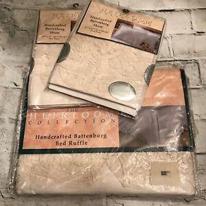 Heirloom Handcrafted Battenburg Lace Ecru Queen Bedskirt & Pair STD Pillow Shams