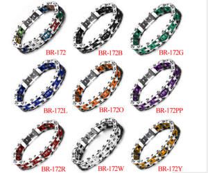 Men Rainbow Silicone Bracelet Bicycle Bike Chain Colorful Sport Stainless steel