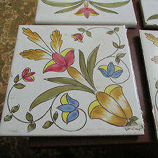 """Vintage Pottery Tile Made in Italy Floral Cevi Cava Dei Tirreni 8""""x8"""" One tile"""