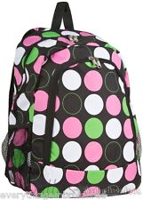 Personalized Backpack Book Bag Black Lime Pink Polka Dots Initial(s)or Name Free
