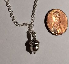 Silver Tiny Acorn Charm Necklace - Fall Nature Autumn Pendant Jewelry