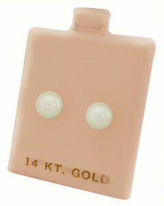 GENUINE WHITE PEARL STUD EARRINGS 14K YELLOW GOLD * New With Tag *