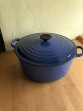 Le Creuset 28 Blue Cast Iron Casserole Pot with Lid