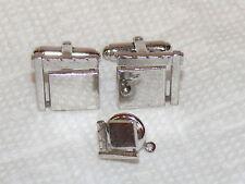 Vintage Sterling Silver 925 Textured Cufflinks & Tie Tack Set Art Deco Geometric
