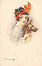 ARTIST SIGNED Postcard ART NOUVEAU c1910 MAUZAN Pretty Woman DOG 7