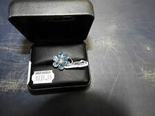 HMR0016-5 - Harley-Davidson Womens.925 Silver Blue Topaz B&S Flower Ring by Mod