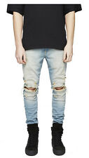 Heiß Mode Herren Jeans Hosen Denim Slim Fit Destroyed Zerrissen Denim Trousers