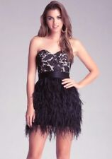 NWT bebe black ivory lace floral isis feather strapless mesh top dress L Large