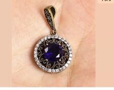 Antique Vintage 925 Silver Pendent With Dard Blue Topaz and Sapphires.