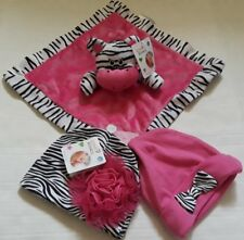 NWT Tender Kisses Baby Zebra Pink Security Blanket With Two Caps Up To 12 Months
