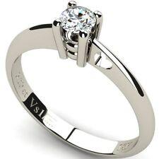 Solitaire Round White Gold VS1 Fine Diamond Rings