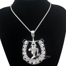 Western Cowgirl Horse Shoe Texas Ranger Star Rodeo Twisted Rope Chain Necklace W